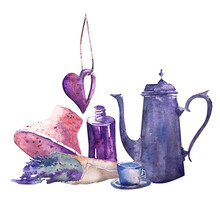 Sketch Of Still Life With Bottle, Hat, Coffee Pot, Cup, Lavender And Heart In Vintage Style. In Blue And Purple Tones, Hand-drawn In Watercolor, A Light Sketch For A Postcard, Magnet, Souvenir