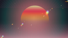 Retrowave Space Sunset Scene With Laser Perspective Grid And Rainbow Light Flare Effect, Tint Neon Glow Gradient Background Template, 80s Techno Aesthetic Feeling