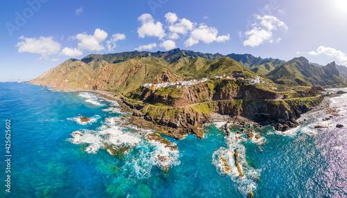 Obraz Aerial Western coast view, with mountain Anaga and costal village Almaciga in Tenerife, Canary Islands, Spain - fototapety do salonu