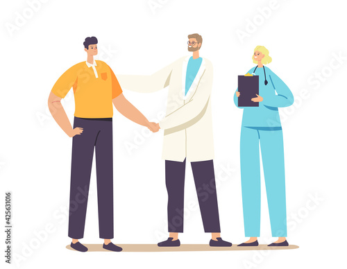Obraz Patient Character Gratitude Doctor with Shaking Hand for Treatment, Consultation or Medical Aid. Medicine, Health Care - fototapety do salonu