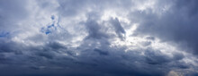 Dramatic Sky With Dark Rainy Clouds Before The Storm. Weather Forecast Concept.