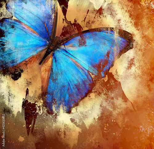 Slika na platnu Abstract piantting - golden blue butterfly wings. fine art