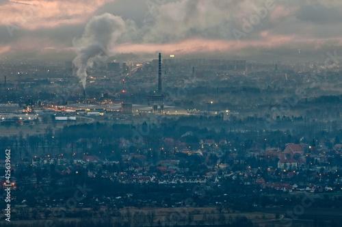 Morning in the foggy Jelenia Góra valley. - fototapety na wymiar