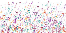 Music Notes Flying Vector Background. Audio
