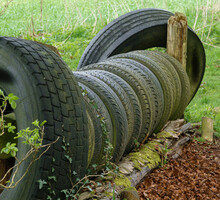 Used Car Tyres Act As An Eventing Horse Jump