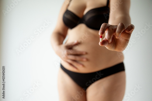 middle aged curvy woman body with belly diet concept Fototapet