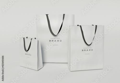 Three Cardboard Shopping Bags Mockup