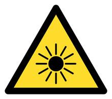 Sun Radiation Warning Icon With Flat Style. Isolated Raster Sun Radiation Warning Icon Image On A White Background.