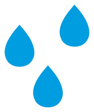 Water Drops Icon With Flat Style. Isolated Raster Water Drops Icon Image On A White Background.