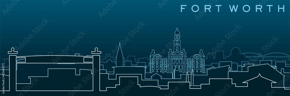 Fototapeta Fort Worth Multiple Lines Skyline and Landmarks