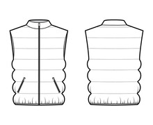 Down Vest Puffer Waistcoat Technical Fashion Illustration With Sleeveless, Stand Collar, Zip-up Closure, Pockets, Oversized. Flat Template Front, Back, White Color Style. Women, Unisex Top CAD Mockup