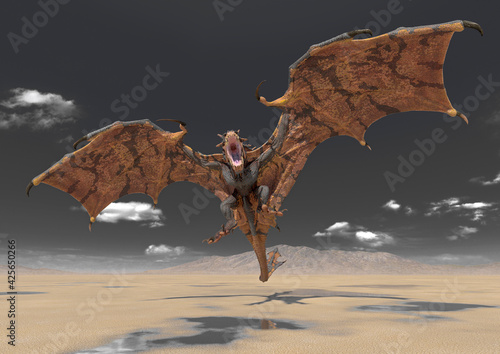 Obraz dragon is attacking on desert after rain - fototapety do salonu