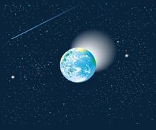 銀河が広がる宇宙空間の青い地球