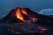 Fagradalsfjall Volcanic Eruption At Night, Iceland