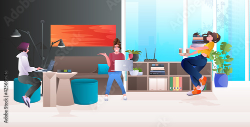 businesswomen team working in modern office teamwork concept horizontal full length