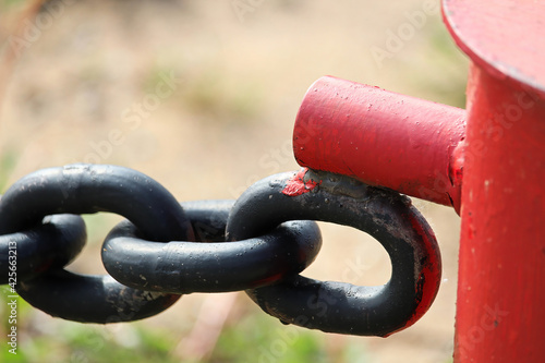 Fotografia, Obraz The welded clasp end where a chain link fence connects