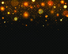 Festive Golden Luminous Background With Colorful Lights Bokeh