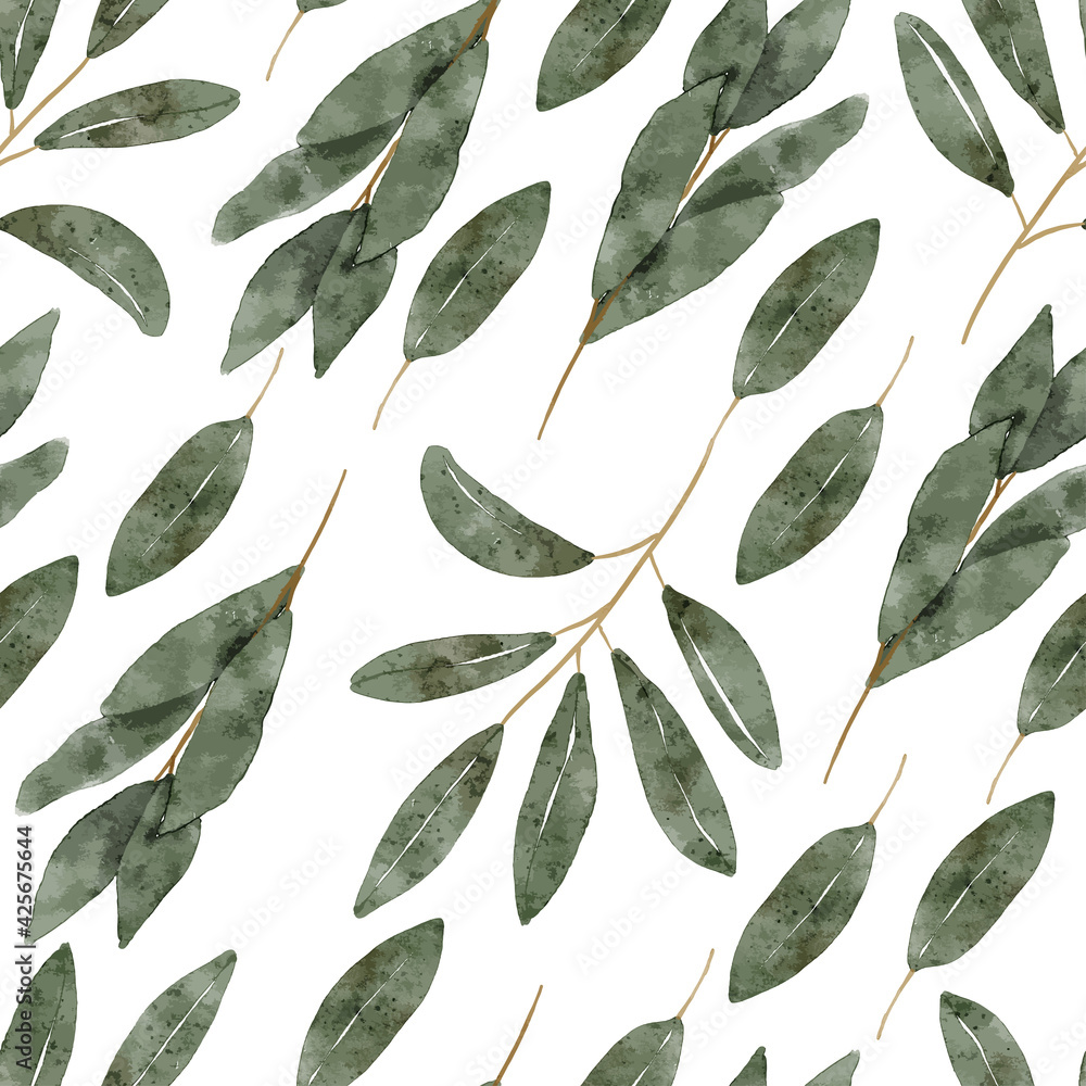 Fototapeta watercolor botanical green leaf seamless pattern