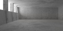 Abstract Empty, Modern Concrete Room With Window Openings And Pillars On The Left Wall And Rough Floor - Industrial Interior Background Template
