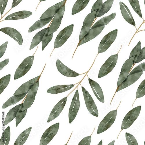 watercolor botanical green leaf seamless pattern Wallpaper Mural