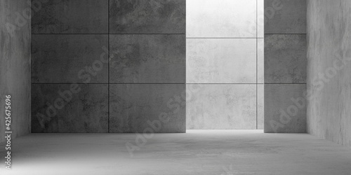 Obraz Abstract empty, modern concrete room with opening at the back, plated back wall and rough floor - industrial interior background template - fototapety do salonu