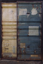 Old And Rusty Metal Shipping Container Double Doors.