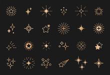 Stars Line Art Icon. Gold Vector Star For Logo, Social Media Stories