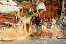 Icicles On Red Cliffs In Apostle Islands