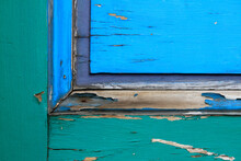 Old Wooden Door With Colorful Peeling Paint