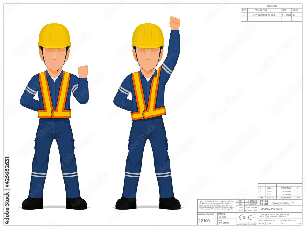 Fototapeta Two industrial workers are raising his clenched fist