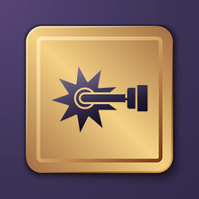 Purple Cowboy Horse Riding Spur For Boot Icon Isolated On Purple Background. Gold Square Button. Vector