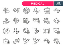 Set Of Vaccine Line Icons. Injection, Prevention And Treatment Of Covid. Medical Syringe And Ampoules, Certificate For Vaccine. Linear Icons For Medical Vaccine. Editable Stroke. Vector Illustration