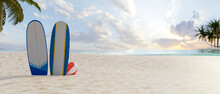 3D Rendering, Summer Beach Concept, Beautiful Beach With Two Surfboards On The Sand