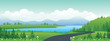 Panoramic landscape cartoon illustration, natural banner, beautiful rural scenery, summer panorama, green highlands, road and lake