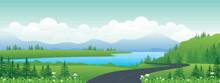 Panoramic Landscape Cartoon Illustration, Natural Banner, Beautiful Rural Scenery, Summer Panorama, Green Highlands, Road And Lake