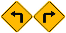 One Way Left - Right Side With Black Arrow On Yellow Traffic Sign. Symbol Vector Illustration