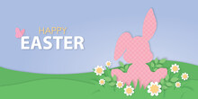 Happy Easter Bunny On Grass Papercut Illustration, Cute Rabbit On Meadow, Cut Out Daisy Flowers, Spring Nature Design