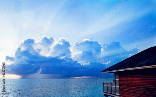 water shore lakeside sea boathouse beach sky ocean lake shed landscape travel co Fototapet
