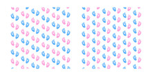 Set. Baby Foot Prints. Baby Shower Background. Blue And Pink Legs Pattern. Illustration.