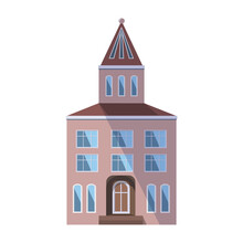 European Pink Old House In The Traditional Dutch Town Style With A Double Gable Roof, Turret, Narrow Windows And Front Door. Vector Illustration In The Flat Style Isolated On A White Background.