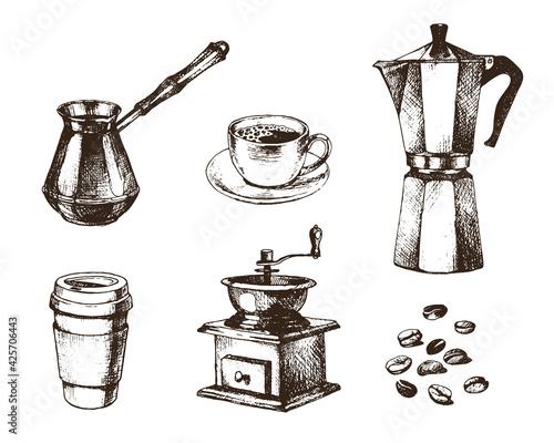 Billede på lærred Vector coffee collection in ink hand drawn style