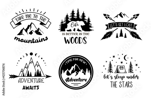Murais de parede Set of adventure emblem designs