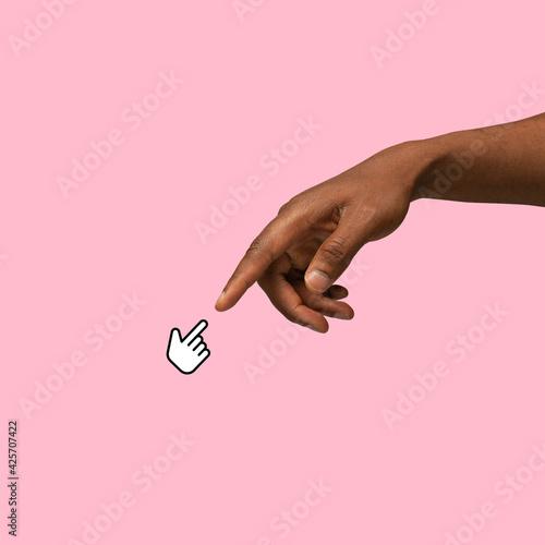 Fotografía Hands aesthetic on bright background, artwork