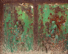 Rusty And Dirty Ornate Metallic Green Surface Decorated - Worn Steampunk Metal Plank