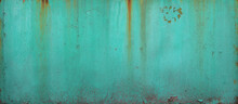 Turquoise Blue Wall Or Surface Of A Fence Of Metal, With Orange Grooves From Rust - Weathered Texture For The Background Of A Steampunk Wallpaper