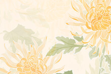 Hand-drawn Chrysanthemum Floral Background