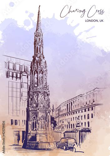 Fototapeta Queen Eleanor Memorial Cross at the Charing Cross Station in London
