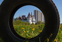 Scenic View Of The Kremlin In The Izmailovo District In Moscow With A Frame From A Car Tire
