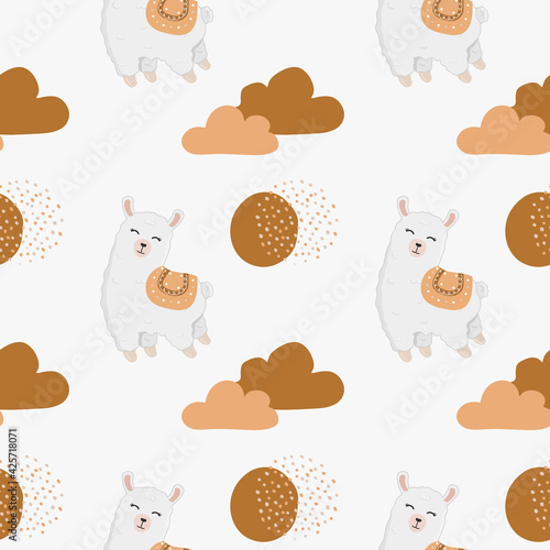Fototapeta premium Seamless childish pattern with cute llama (alpaca), clouds, stars. Baby texture for fabric, wrapping, textile, wallpaper, clothing. Boho background