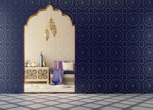 Arabic,Islamic Style Interior Design With Arch And Arabic Pattern.3d Rendering